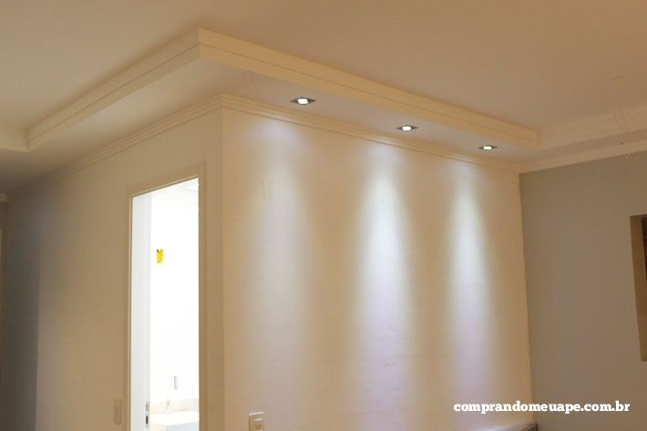 gesso e a iluminação do meu apê (Spots Super LED e Dicróica  ~ Sala De Estar Gesso