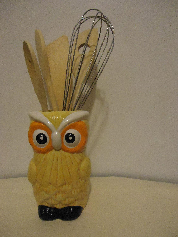 vintage 70s 1970s retro owl kitchen decor ceramic yellow owl