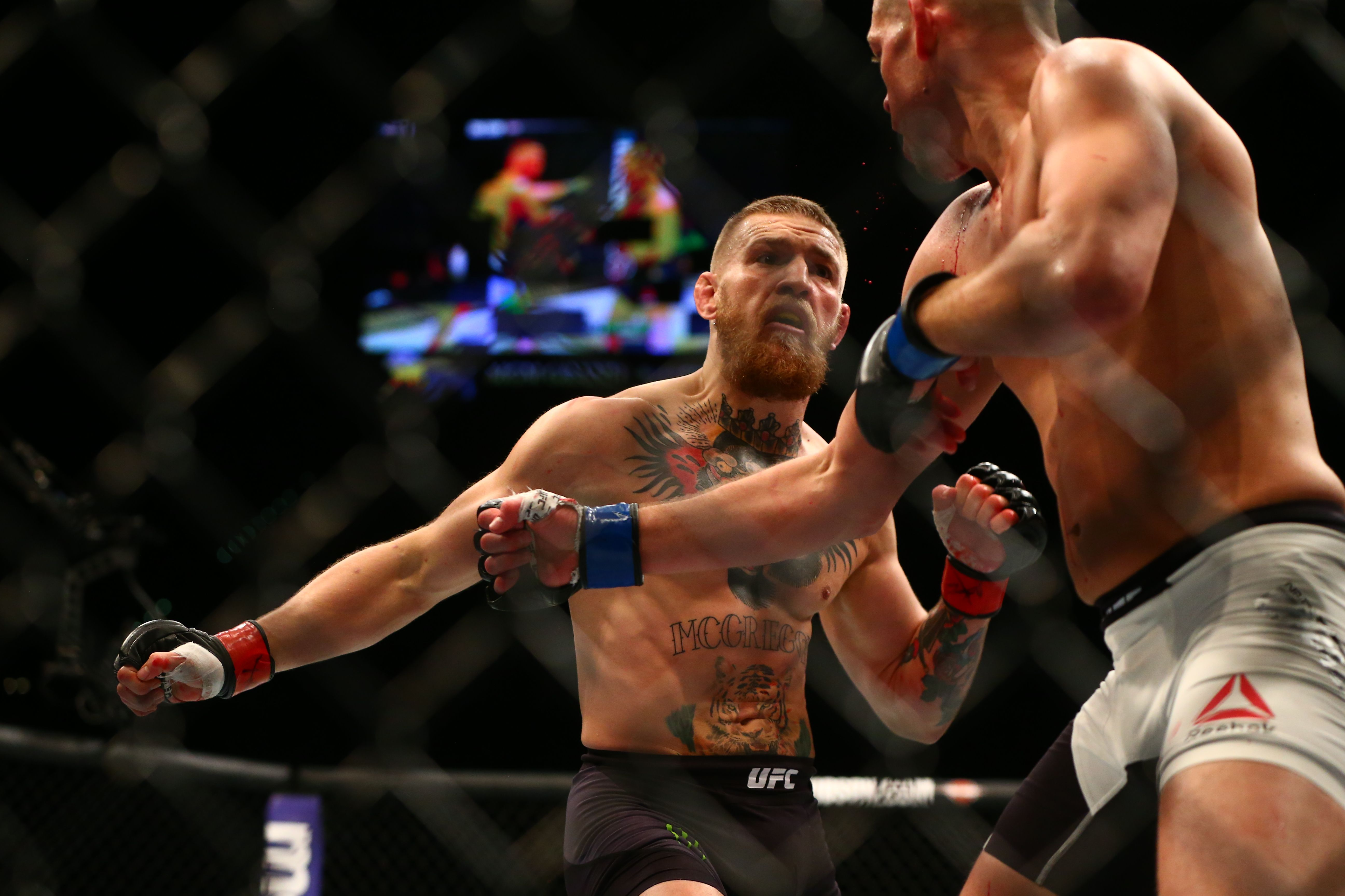 March 5, 2016; Las Vegas, NV, USA; Conor McGregor moves in for a ...