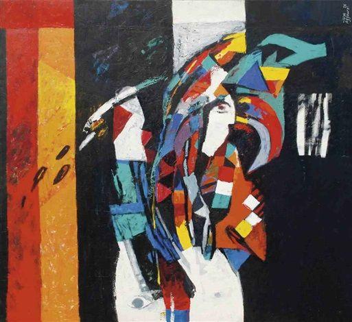 Dia Al-Azzawi (Iraqi, b. 1939) - Untitled, oil on canvas