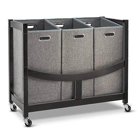 Best At A Glance Rolling 3 Basket Wooden Laundry Sorter Cart With