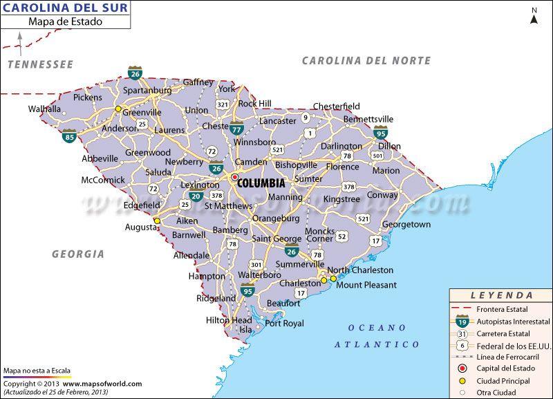 El Mapa del Estado de Carolina del Sur - Estados Unidos de America ...