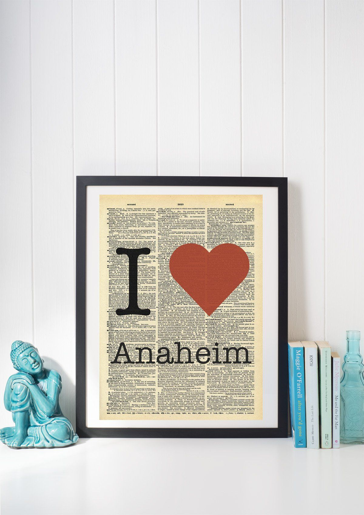 I heart anaheim vintage dictionary print x inch home vintage art