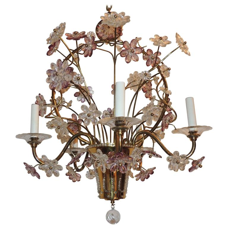 Wonderful Gilt Bronze Chandelier Beaded Basket Amethyst Crystal