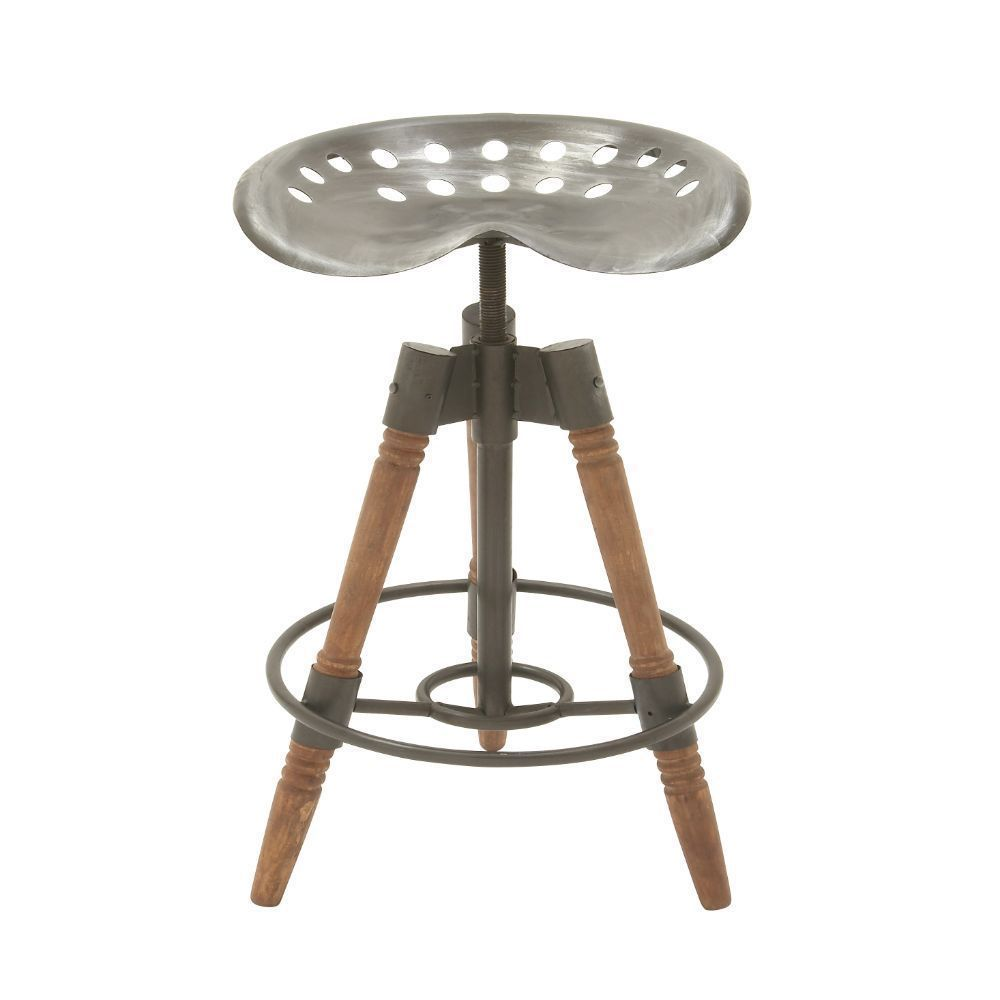 Industrial 27 Inch Iron And Wood Tripod Bar Stool By Studio 350 N