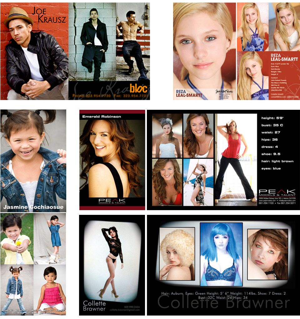 Acting, dancing, modeling, post card, zed card, business card ...