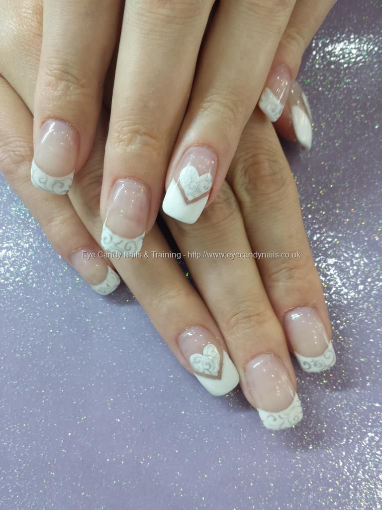 White Gel Tips With Heart And Swirl Freehand Nail Art Nails And