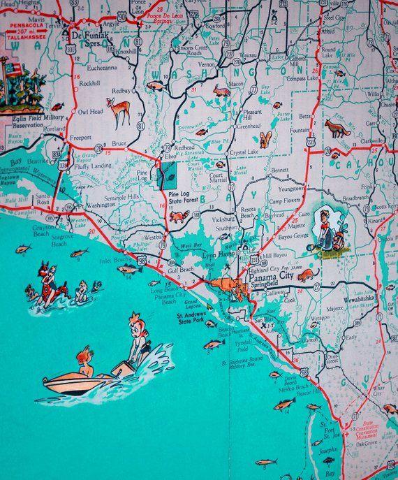 Map Of Panama City Florida.Panama City St Joe Florida Panhandle Beach Retro Map Print Funky