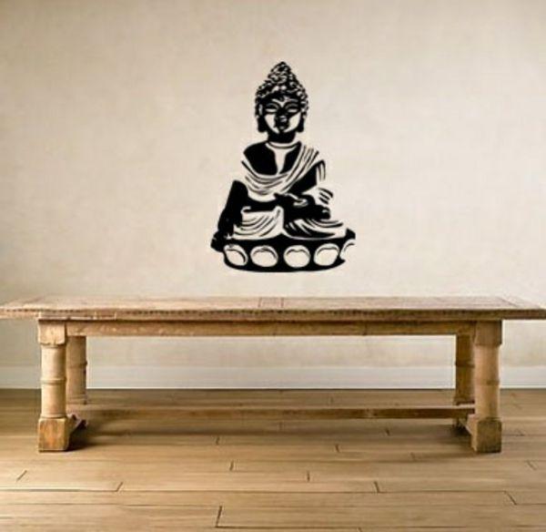 wandsticker buddha wandtattoo im esszimmer wandgestaltung - wandgestaltung esszimmer