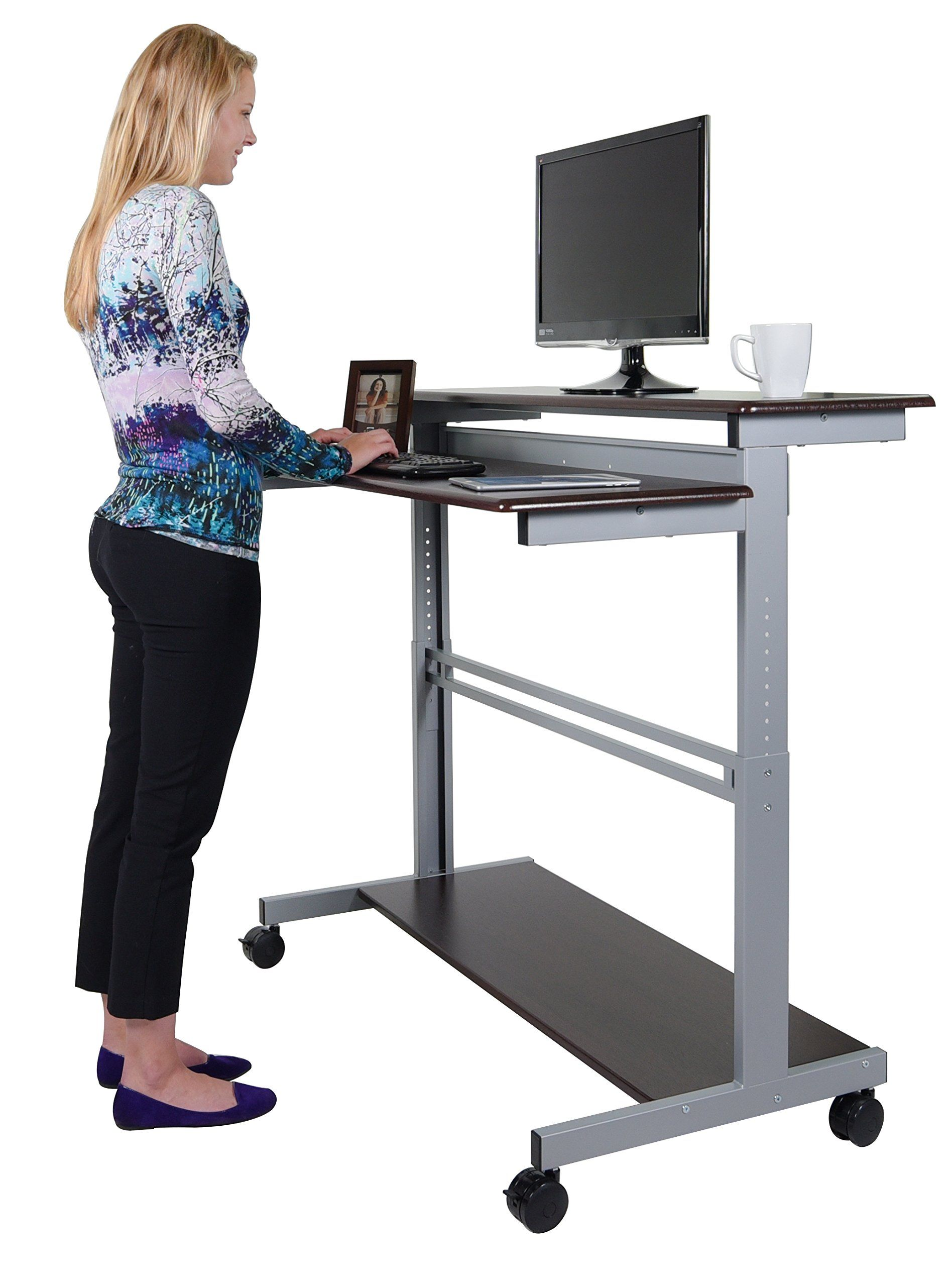 48 shelves mobile ergonomic stand up desk computer workstation dark walnut shelves silver frame