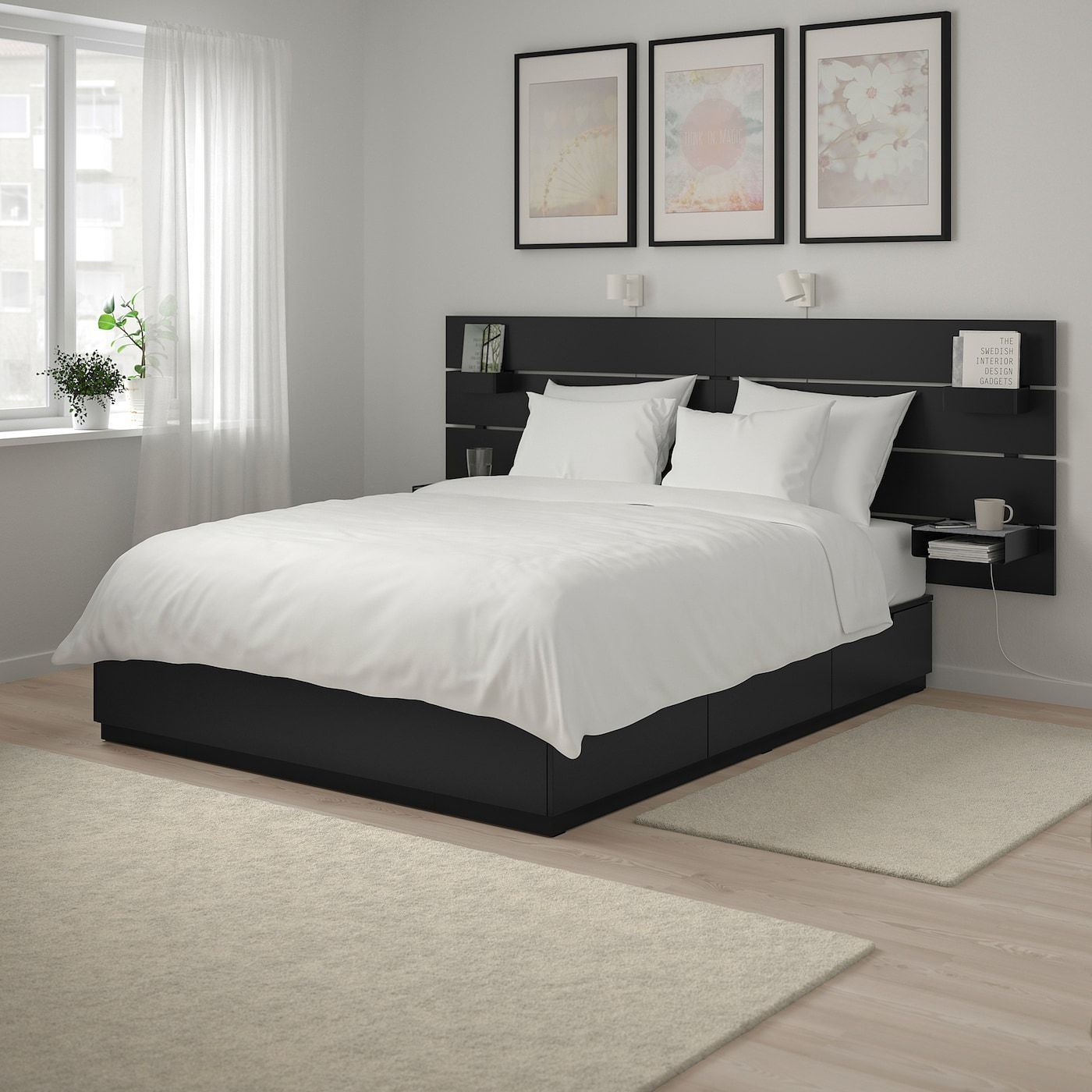Ikea Nordli Bed With Headboard And Storage Anthracite In 2020