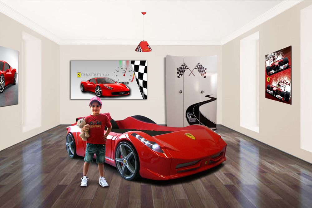 Car bed ferrari car bedroom theme boys bedroom boys for Boy car bedroom ideas