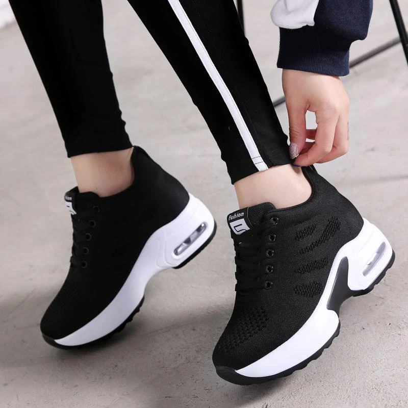 Hot Selling Women Breathable Fashion Height Increasing Sneakers