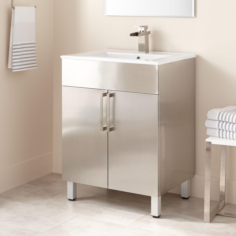 24 Crosstown Stainless Steel Vanity Brushed Stainless Steel Vanities Bathroom Vanities Bathroom Bathroom Vanity Vanity Stainless Steel Bathroom Vanity