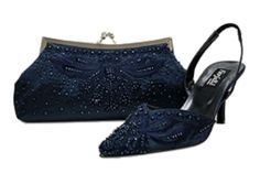 Navy Blue Sequence Pump And Bag Navy Blue Wedding Shoes Navy Wedding Shoes Beaded Shoes