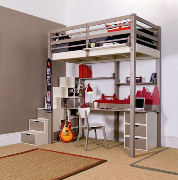 Minimalist Loft Beds For Adults With Desk Underneath Decor Pinte
