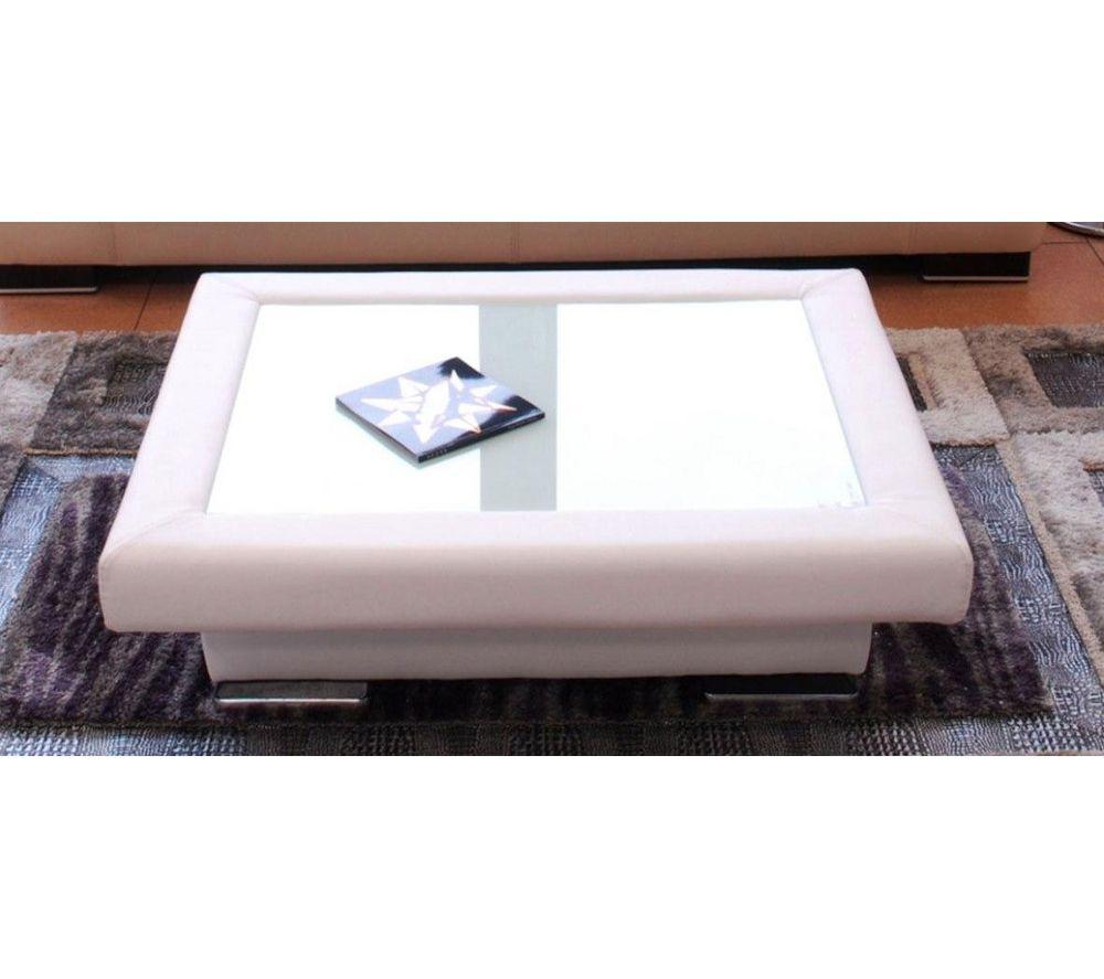Table Basse Cristal Cuir Massif Blanc Prix Promo Table Basse  # Meuble Tv Carrefour