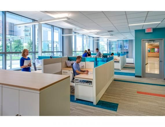 Office space was designed to be bright and colorful using for Well designed office spaces