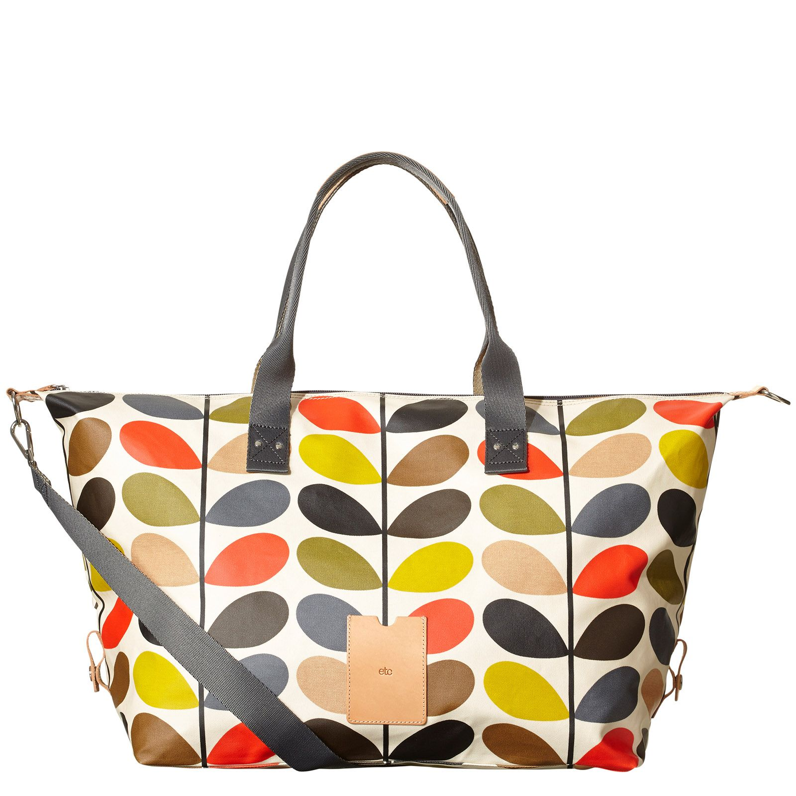 734a63089b Orla Kiely  Matte laminated weekend bag in the classic Multi Stem print  with leather trims