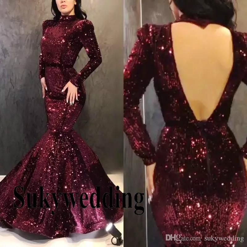 e4553a519158 Sparkling Sequined Mermaid Evening Dresses Long Sleeves Prom Party Gowns  High Collar Sexy Open Back Pageant Prom Dresses Custom Made Online Dress  Shop ...