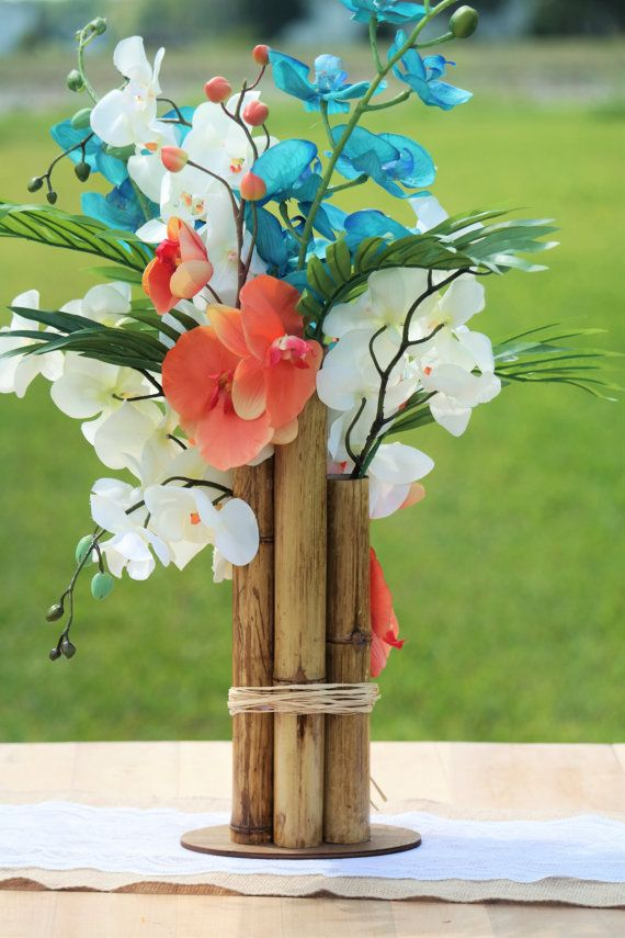 Tropical Beach Centerpiece Coral Orchids By Alexabeachyweddings Sarahs