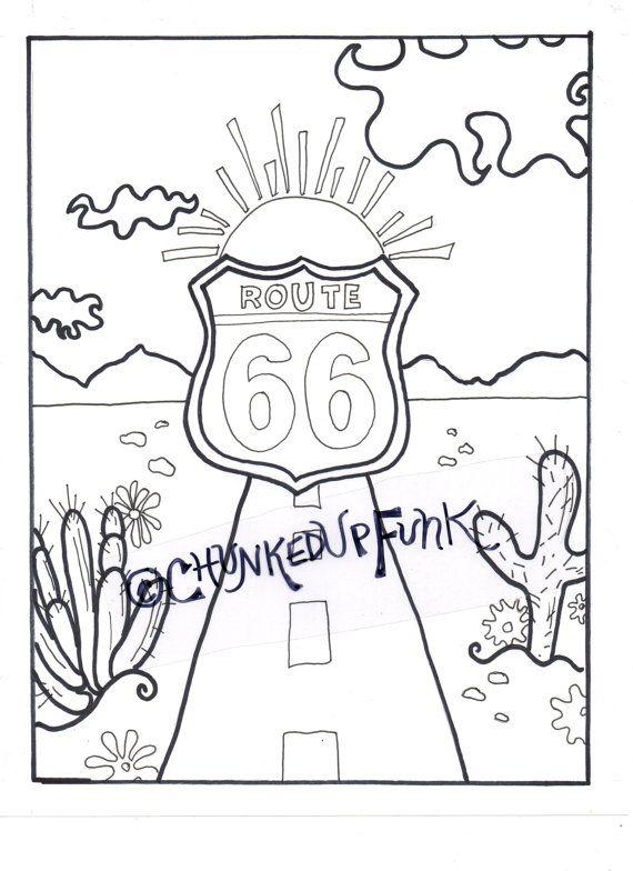 oklahoma coloring page - printable coloring page route 66 arizona texas santa
