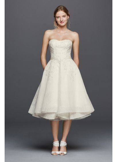 Oleg Cassini Short Strapless Lace Wedding Dress CWG742   Bridal ...