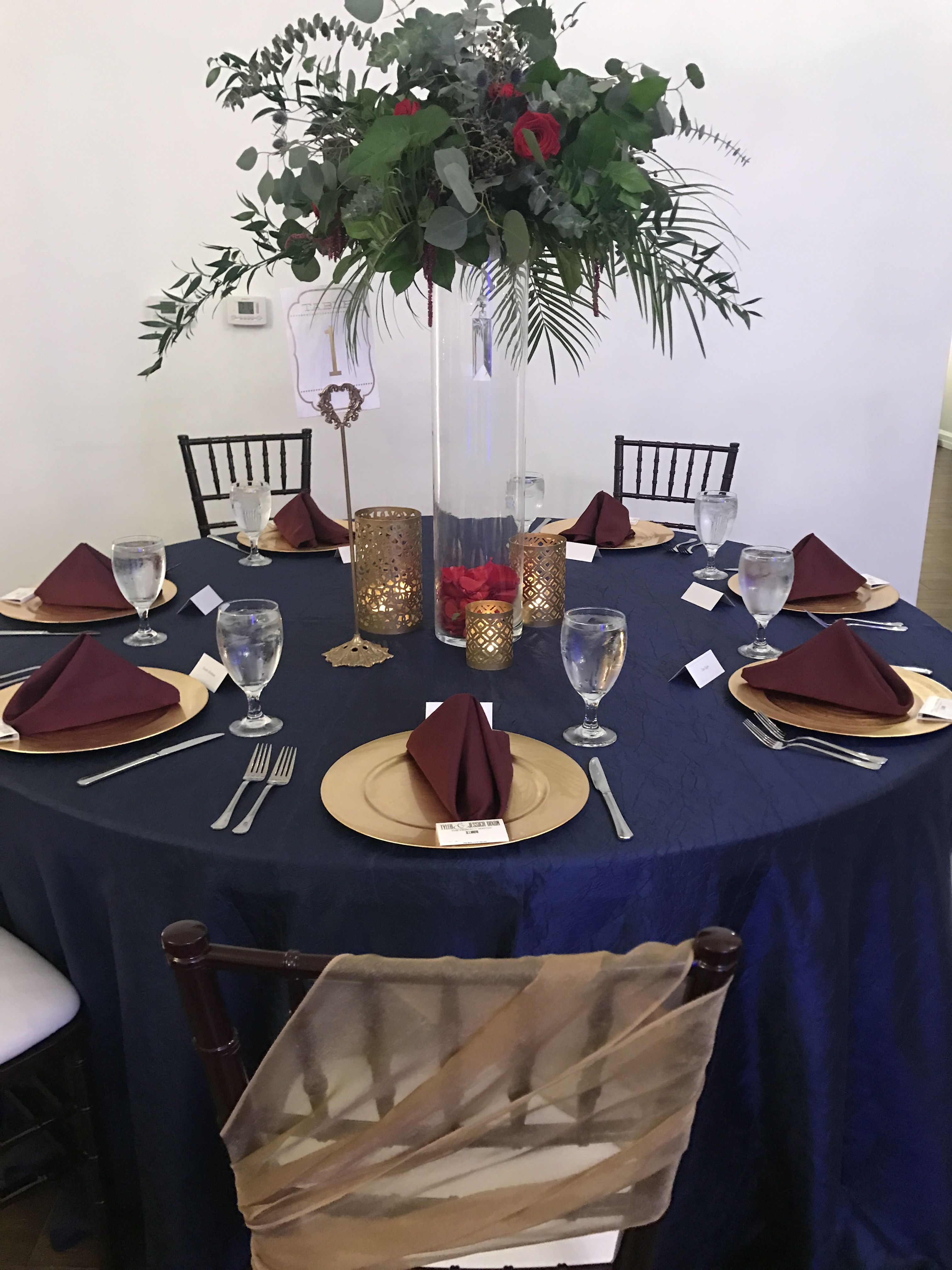Burgundy Crushed Linen With Gold Charger Burgundy Napkin