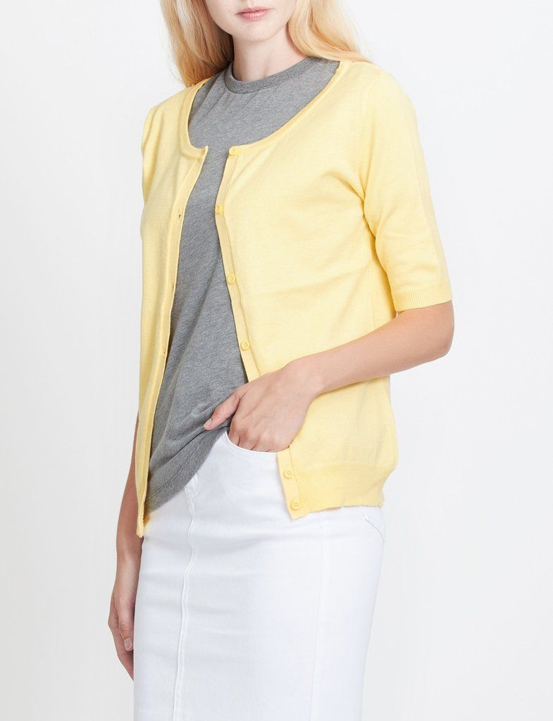Womens Fitted Short Sleeve Fine Knit Cardigan | Short sleeves ...