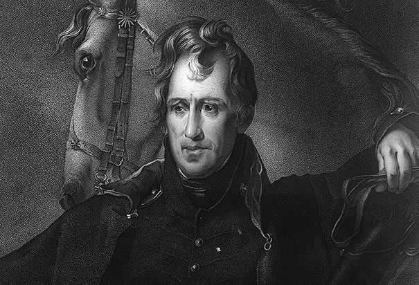 WAR OF 1812:  General Andrew Jackson's bold leadership, humble background and relentlessness at New Orleans led him to become a national hero. (Photo Andrew Jackson posing with horse:  Library of Congress (Thomas Sully)).
