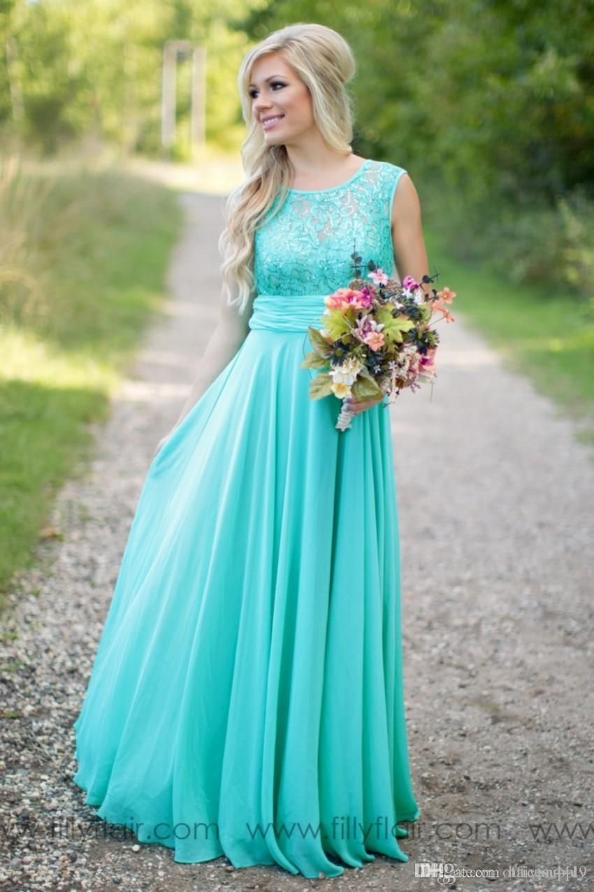 8fb7a6495952d 2016 Country Fantasy Turquoise Bridesmaid Dresses Illusion Neck Sequines  Lace Top Chiffon Long Plus Size Maid of Honor Wedding Party Dresses
