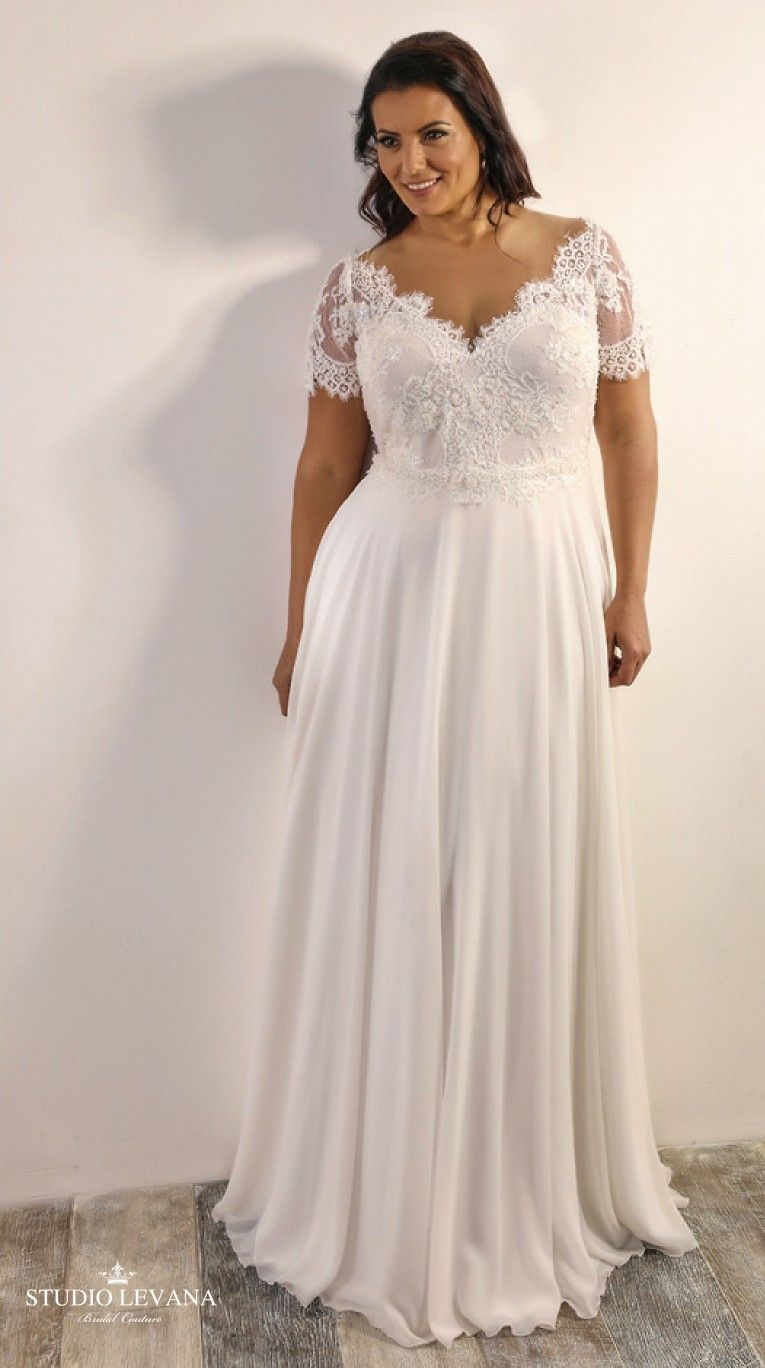 Vintage plus size wedding gown with short sleeves and chiffon skirt