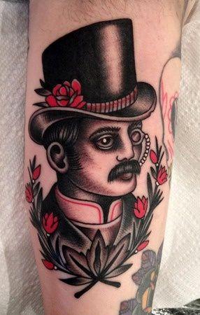 Charismatic Old School Portrait Tattoo I Want Tattoo Traditional Tattoo Gentleman Tattoo Traditional Tattoo Man