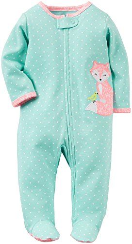 Carters Girls Footed 1 Piece Zip Up Soft Fleece Sleepwear Pajamas 24M, Red Dots//Reindeer