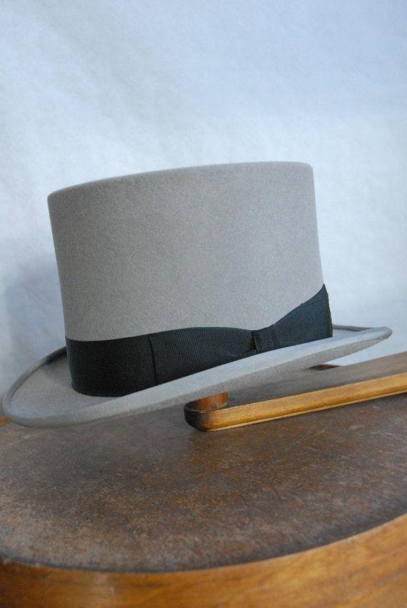 Vintage G.A Dunn   Co Fur Felt Grey Top Hat by TheVintageHatCo 70d68dda8f87