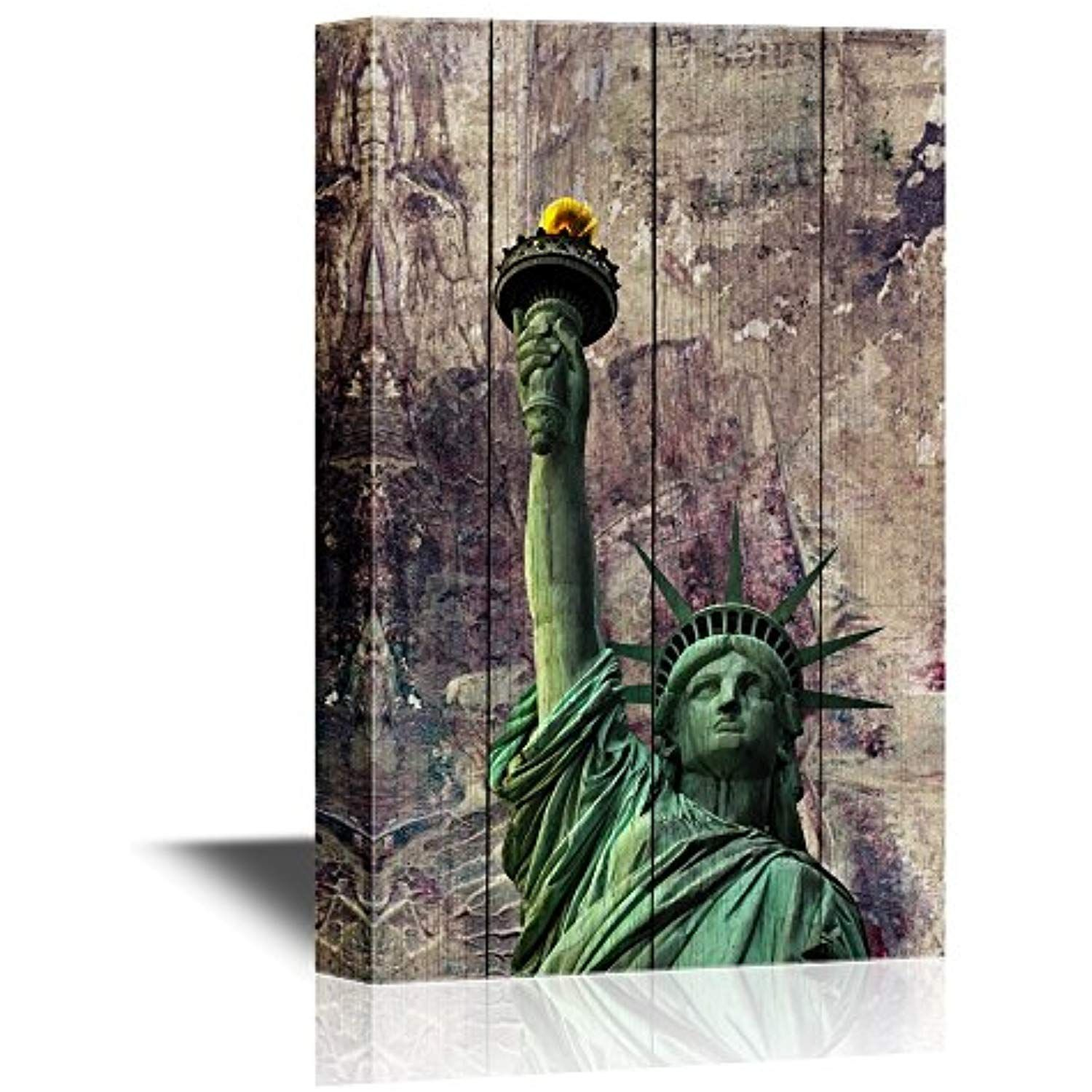 Wall26 Canvas Wall Art Statue Of Liberty On Wood Background Gallery Wrap Modern Home Decor Ready To Hang 12x18 Inches Y Wall Art Canvas Wall Art Art