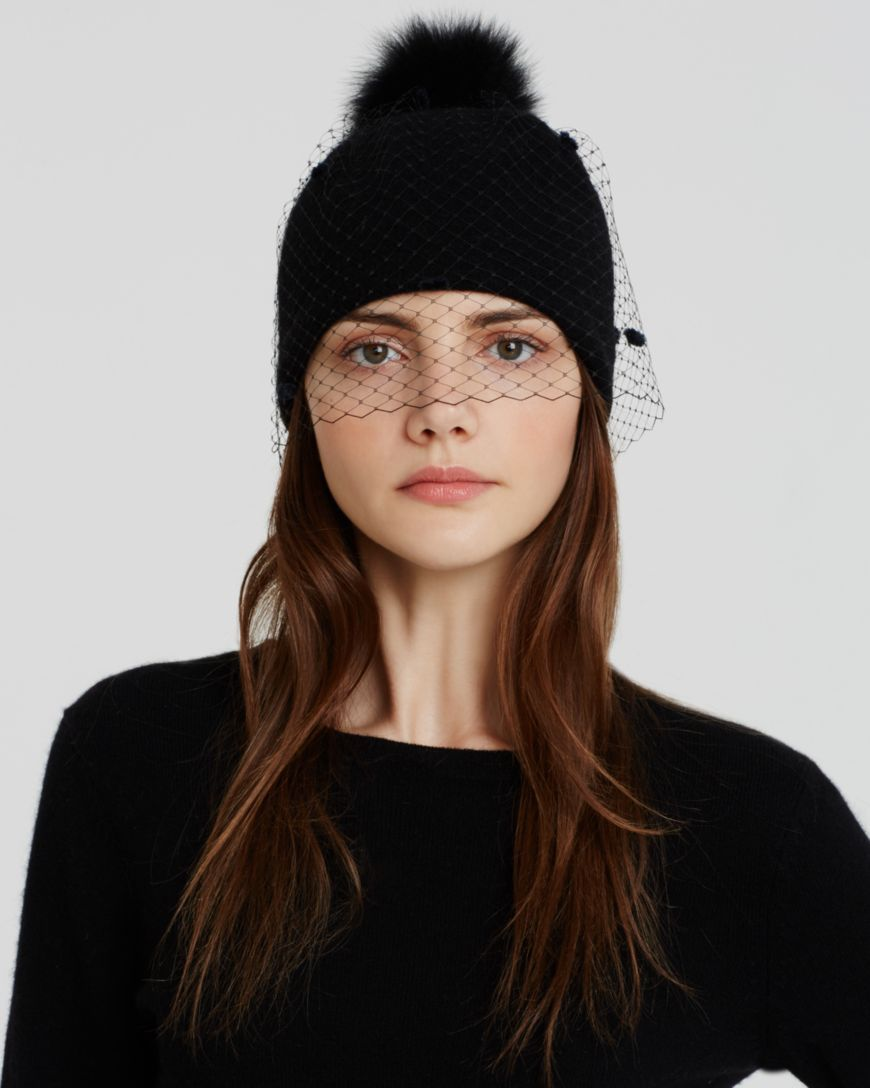 ccf26615d Helene Berman Beanie Hat with Veil & Fox Fur Pom Pom ...