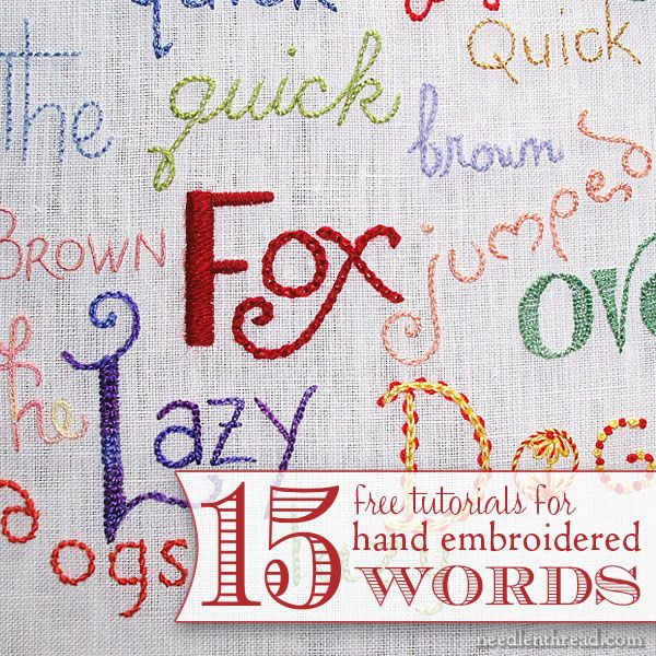 Hand embroidery lettering and text index