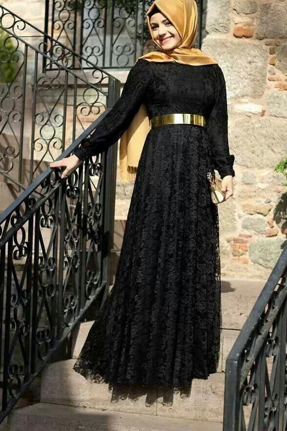 790df4e2c0 Islamic Fashionable Dress Long Sleeves Simple Muslimah Black Lace Prom  Dresses Evening Gowns LD1808