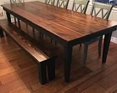 Barb C. Custom Handcrafted Dark Walnut/Espresso Harvest Table And Rustic  Bench