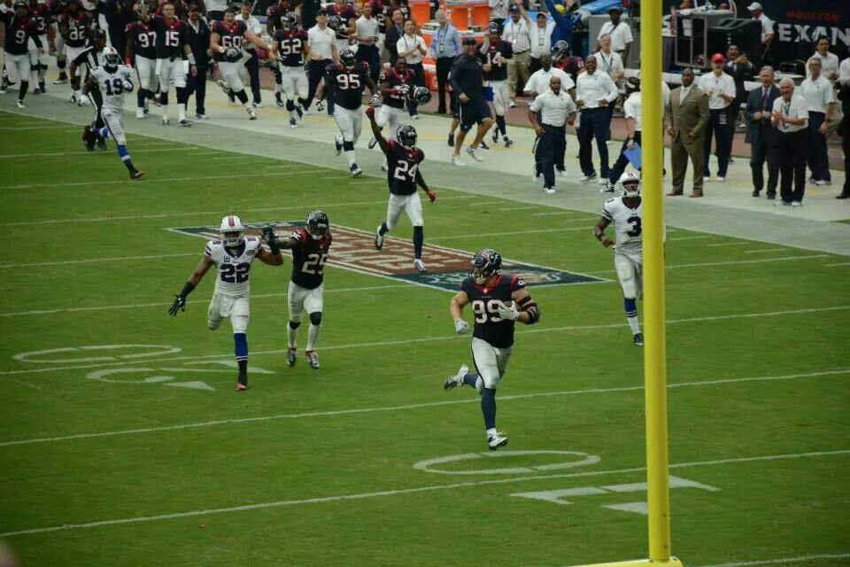 JJ Watt running for the in zone on a pick 6..pic courtesy
