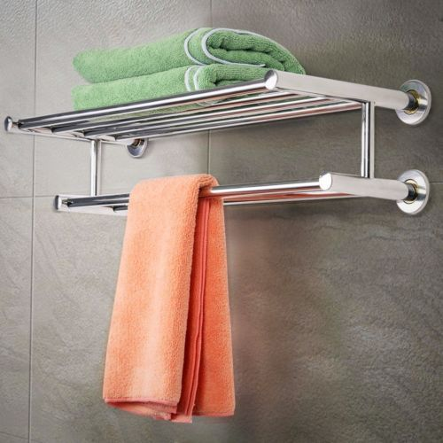 Silver Double Towel Rail Holder Stainless Steel Wall Mounted