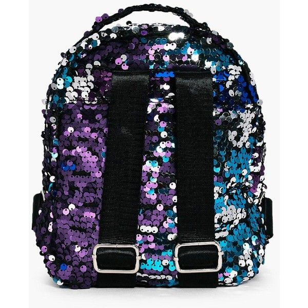 Boohoo Isabella Rainbow Sequin Zip Around Rucksack | Boohoo ($18) ❤ liked on Polyvore featuring accessories