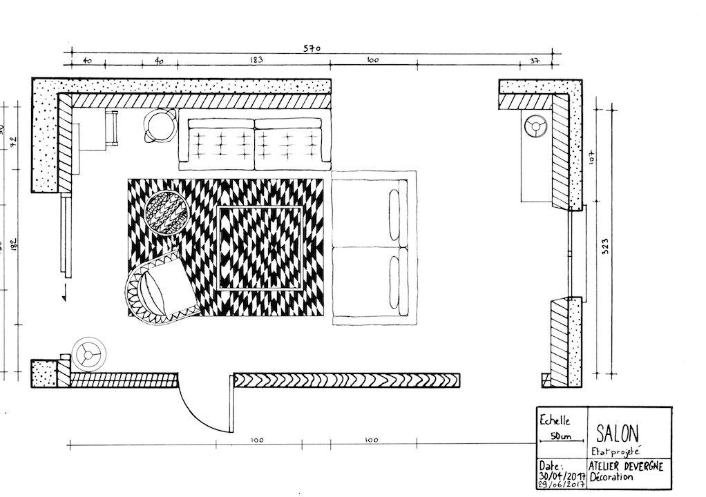 Salon familial, Plan de lu0027état projeté, Atelier Devergne, Décoration - plan d interieur de maison