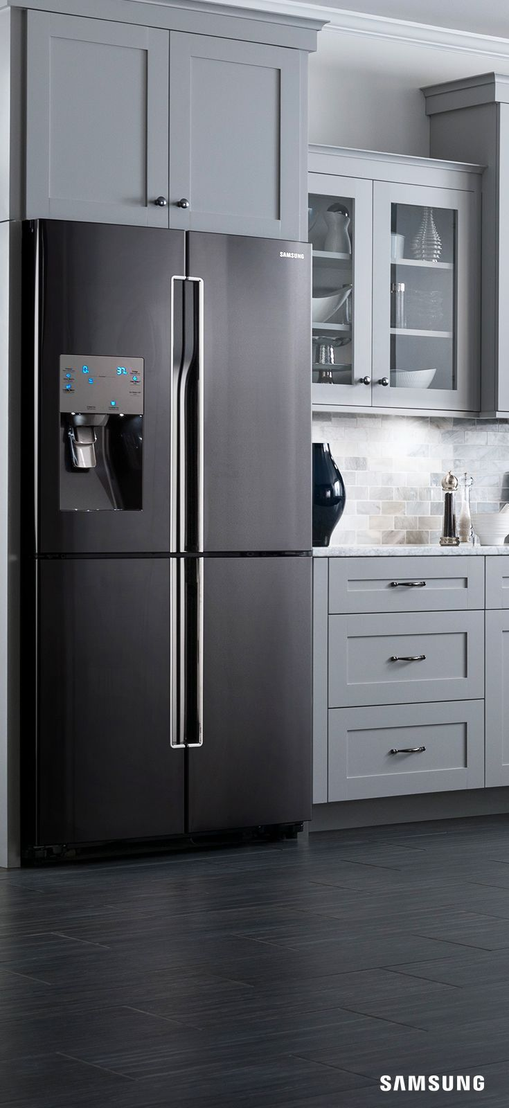 Kitchens With Black And Stainless Steel Appliances Featuring Grey Cabinet Black Kitchens Home Kitchens Kitchen Appliances