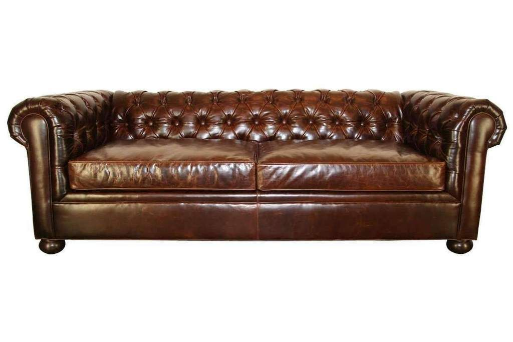 Empire 78 Inch Apartment Size Tufted Leather Chesterfield Studio