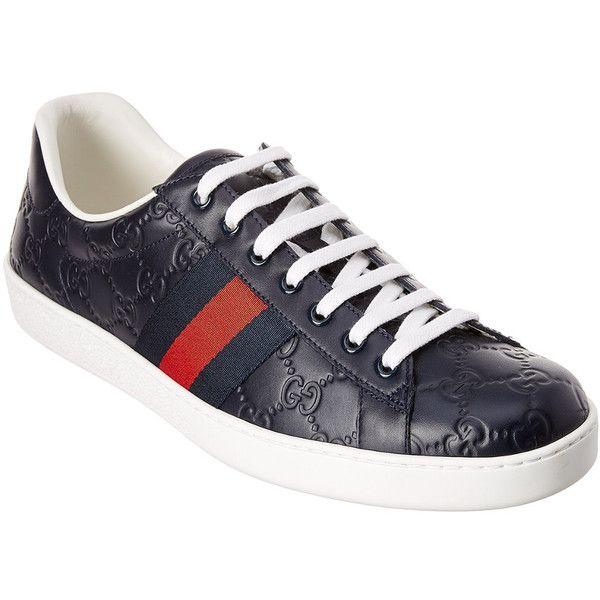 eacd97e3bf4 Gucci Ace Signature Leather Sneaker ( 520) ❤ liked on Polyvore featuring  men s fashion