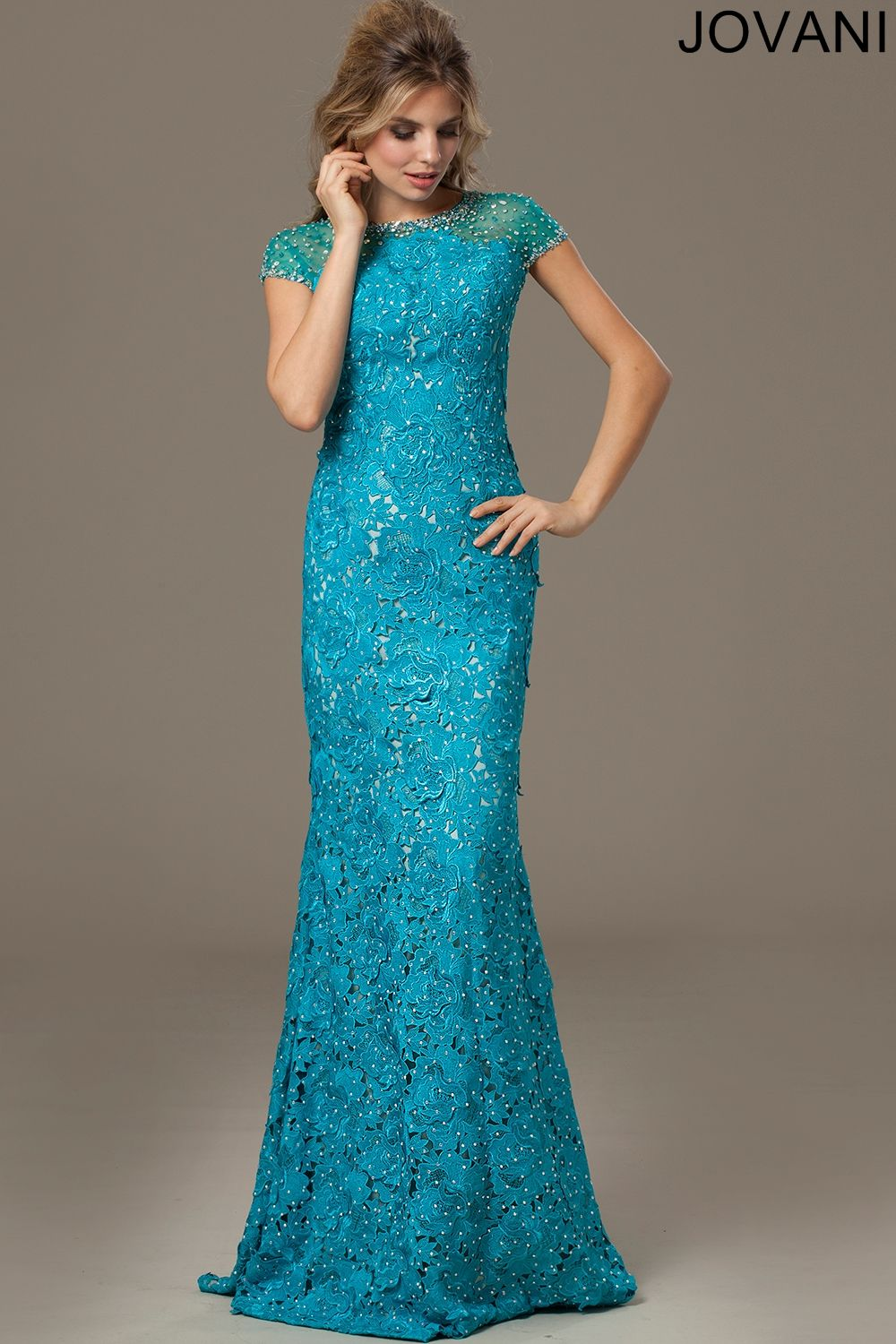 Blur Short Sleeve Lace Evening Gown   Color My World - Blue ...