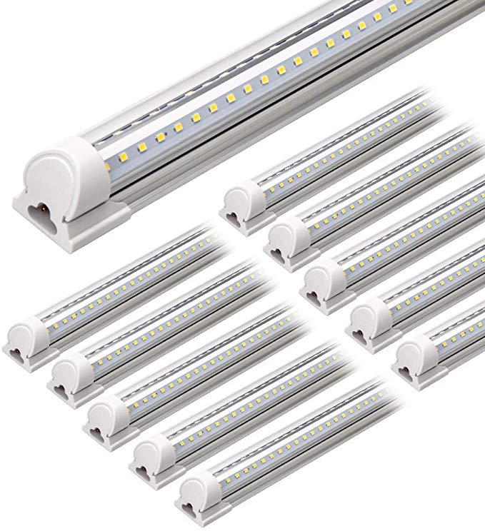 Barrina Led Shop Light 4ft 40w 5000lm 5000k Daylight White V Shape Clear Cover Hight Output Linkable Shop Light In 2020 Led Shop Lights Led Tube Light Tube Light