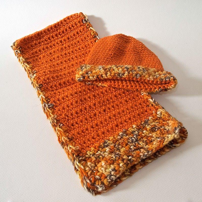 Populaire Coordinato cappello e sciarpa per neonato in lana arancio lavorata  NU05